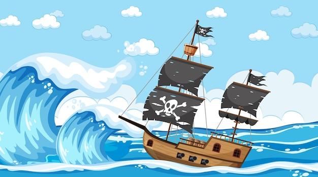 Oceano com o navio pirata na cena do dia em estilo cartoon
