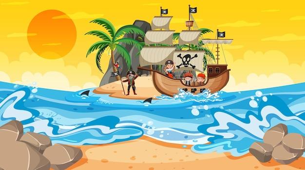 Oceano com o navio pirata na cena do pôr do sol em estilo cartoon