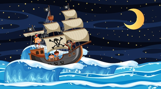 Oceano com o navio pirata na cena noturna em estilo cartoon