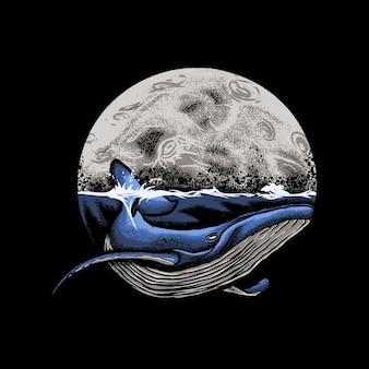 Oceano de baleia azul com ilustração de fundo de lua
