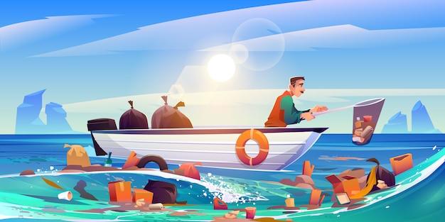 Oceano poluído água limpeza eco poluição problema