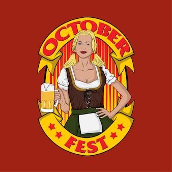 October fest bávaro meninas segurando copo de cerveja