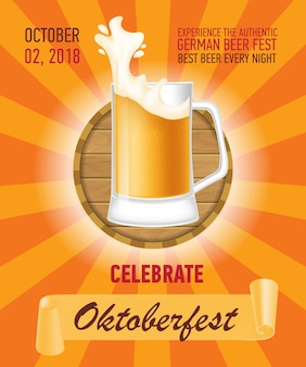 Octoberfest, design de cartaz de cerveja alemã