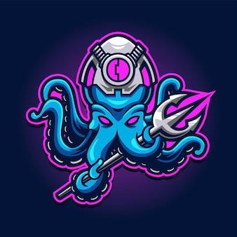 Octopus com logotipo da trident esport gaming