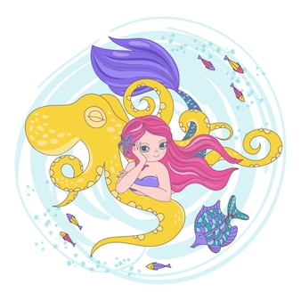 Octopus friend mermaid cartoon travel