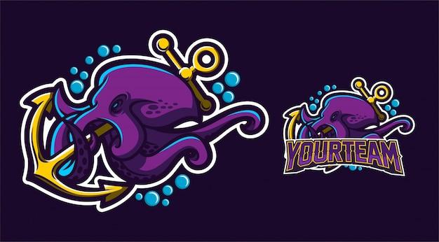 Octopus holding anchor logo