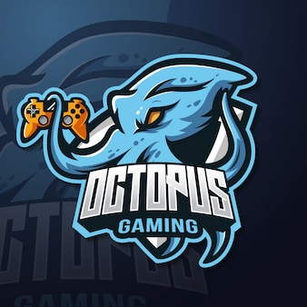 Octopus mascot esport logo gaming
