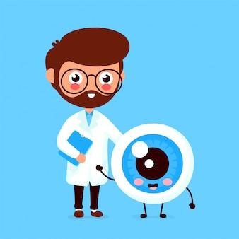 Oculista de sorriso engraçado bonito do doutor e globo ocular feliz saudável.