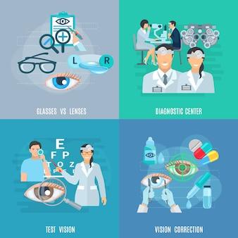 Oculista oftalmologista flat icons square