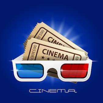 Óculos 3d e pôster de ingressos
