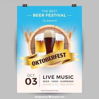 Óculos, barril e trigo de cerveja realistas