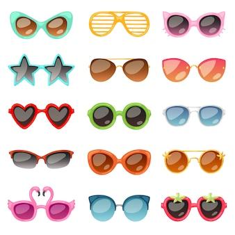 Óculos cartoon óculos ou óculos de sol em formas elegantes para festa e moda óculos ópticos conjunto de acessórios de visão