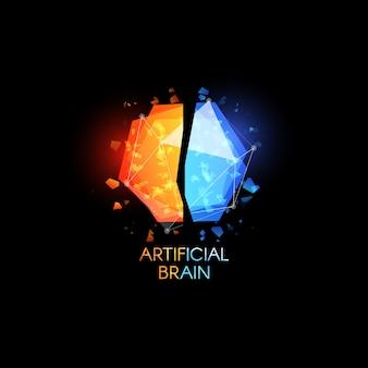 Óculos com logotipo de cérebro de intelecto artificial e formas poligonais abstratas coloridas com cacos de vidro