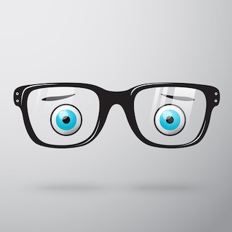 Óculos com olhos preocupados