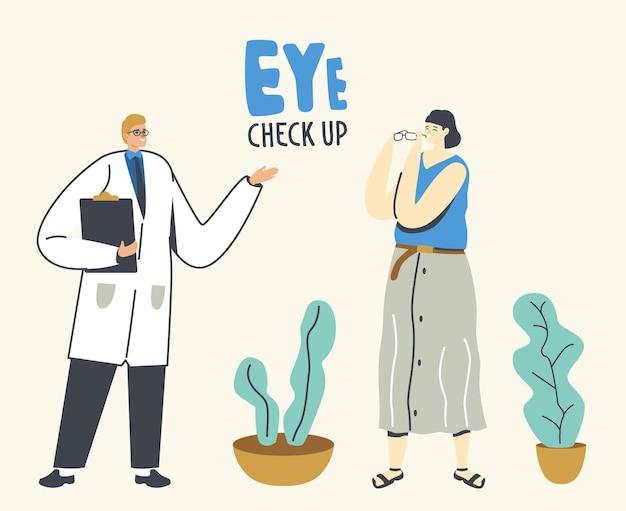 Óculos com prescrição de personagem médico masculino para paciente do sexo feminino, exame de visão