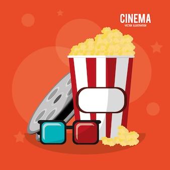 Óculos de caixa de pop-corn de cinema e filme de bobina
