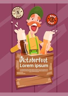 Óculos de cerveja de homem de barba hold oktoberfest festival banner