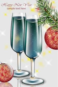 Óculos de champanhe azul cartão de ano novo. boas festas