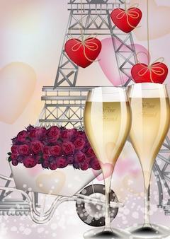 Óculos de champanhe e fundo da torre eiffel, cartão romântico