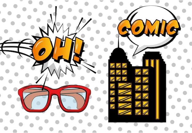 Óculos de construção em quadrinhos pop arte oh bolha do discurso fundo de pontos brancos Vetor Premium