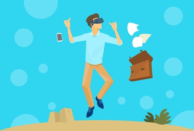 Óculos de digital de realidade virtual de uso de homem de negócios
