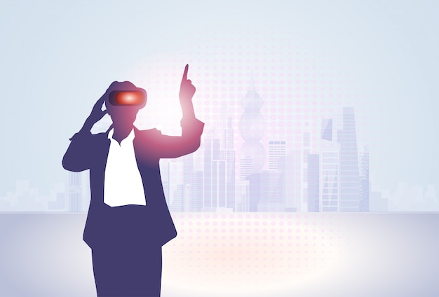 Óculos de digitas da realidade virtual do desgaste de mulher do negócio da silhueta