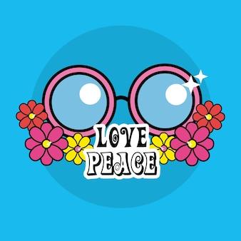 Óculos de hippie fofos com flores e mensagem