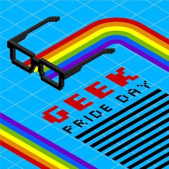 Óculos de leitura e arco-íris geek orgulho dia