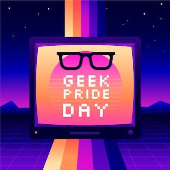 Óculos de leitura e efeito synthwave geek pride day