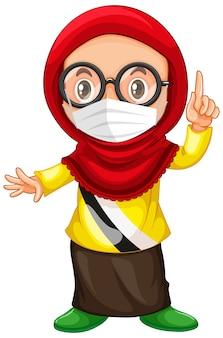 Óculos de menina muçulmana usando máscara