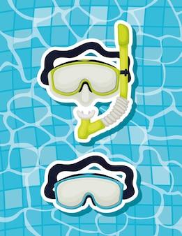 Óculos de mergulho na água