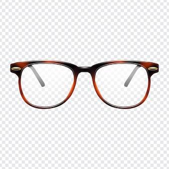 Óculos de moda realista com fundo transparente
