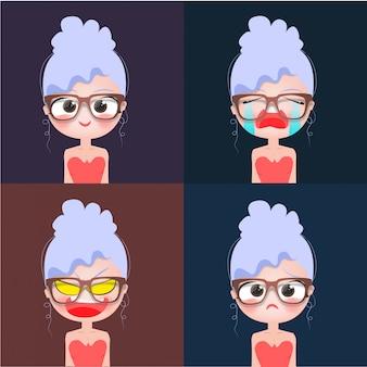 Óculos de personagem de menina de cabelo azul
