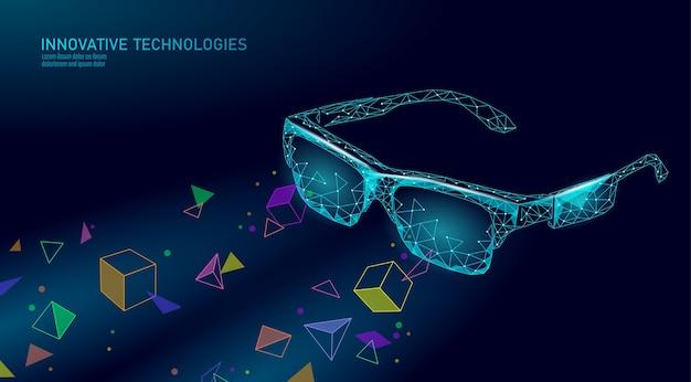 Óculos de realidade aumentada virtual. conceito poligonal de entretenimento de mídia de inovação. ilustração de cinema de tecnologia de conexão web.