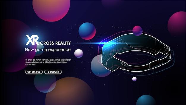Óculos de realidade virtual com fundo gradiente abstrato