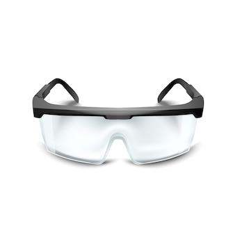 Óculos de segurança de plástico no fundo branco. óculos de trabalho equipamento de proteção ocular para construção, medicina e esportes