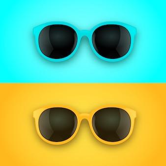 Óculos de sol 3d realistas brilhantes