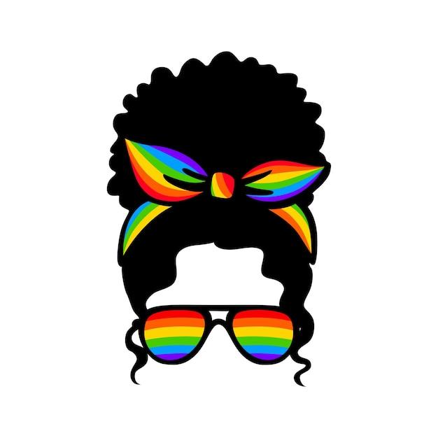Óculos de sol arco-íris. orgulho lgbt. parada gay. citação de vetor lgbtq isolada em um fundo branco. conceito de lésbica, bissexual e transgênero. coque bagunçado.