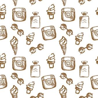 Óculos de sol com padrão feminino perfume sorvete ícone de mídia social