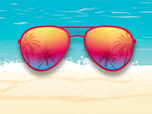 Óculos de sol com reflexão de árvores de palma