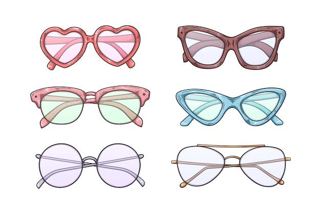 Óculos de sol de desenho de vetor em estilo vintage.