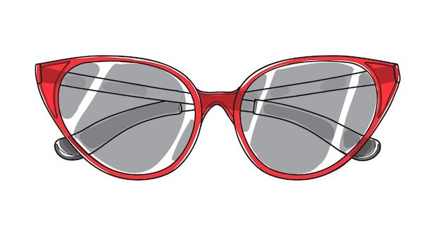 Óculos de sol de olho de gato mão desenhada arte vector
