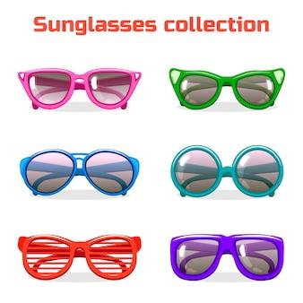 Óculos de sol de várias formas e cores