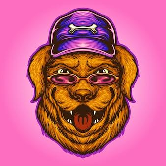 Óculos de sol do cão de verão e ilustrações vetoriais de chapéu para o seu trabalho logotipo, t-shirt da mercadoria do mascote, adesivos e designs de etiquetas, cartazes, cartões comemorativos anunciando empresas ou marcas.