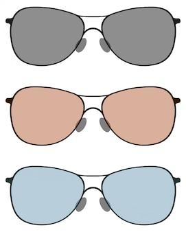 Óculos de sol em lentes de três cores