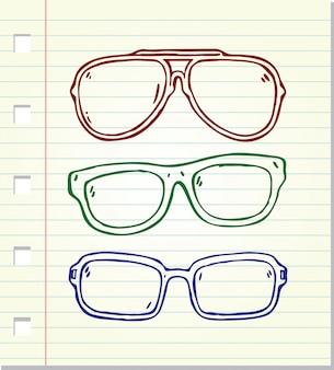 Óculos de sol estilo doodle isolados