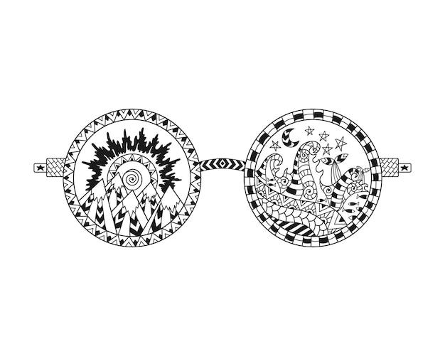 Óculos de sol hippie desenhados à mão para colorir página anti-stress