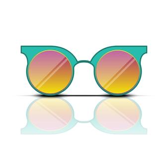 Óculos de sol laranja turquesa com reflexo