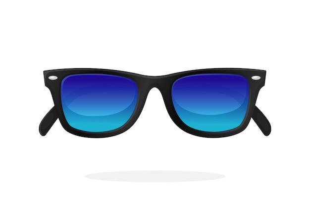 Óculos de sol modernos com armação de plástico preto e lentes espelhadas azuis. ilustração vetorial