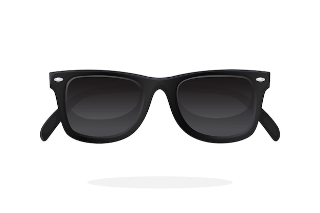 Óculos de sol modernos com armação de plástico preto e lentes pretas. ilustração vetorial